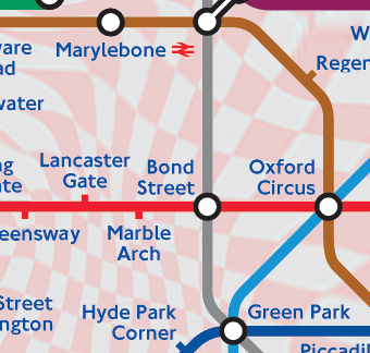 Map Bond Street London.London Tube Map With Distance Grids
